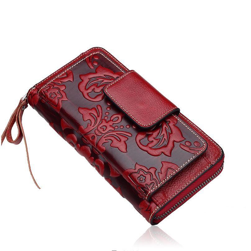 Genuine leather bag free delivery Women bag  Original Vintage Clutch Wallet Fashion embossed purse Bracelet bag