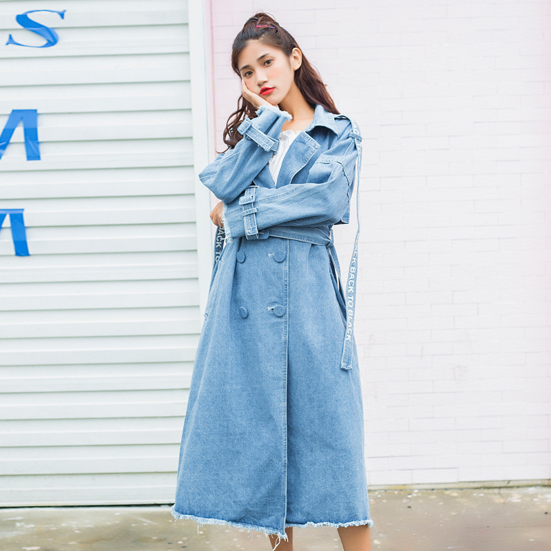 #3320 Light Blue Denim Windbreaker Adjustable Waist Loose Overcoat X-Long Denim   Trench   Coat For Women Vintage Streetwear
