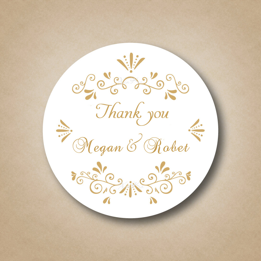 Customized Gold Wedding Favor Labels ,Golden Stickers Custom Wedding ...
