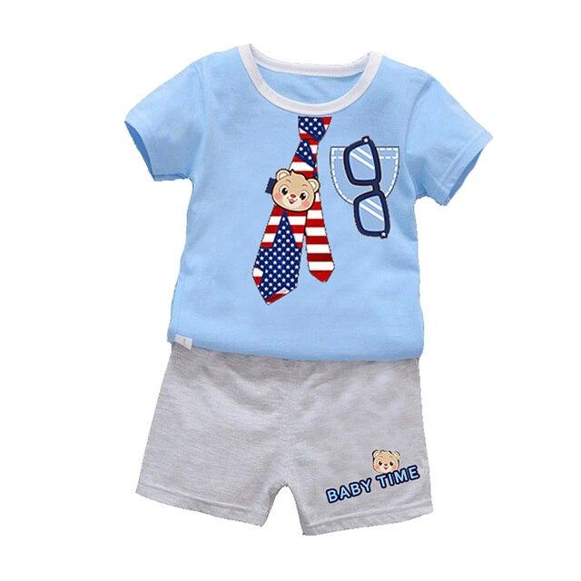 75012c3ac Meninos Conjunto de Roupas de bebê Menino Roupas de Verão Bebê  Recém-nascido Bonito Dos