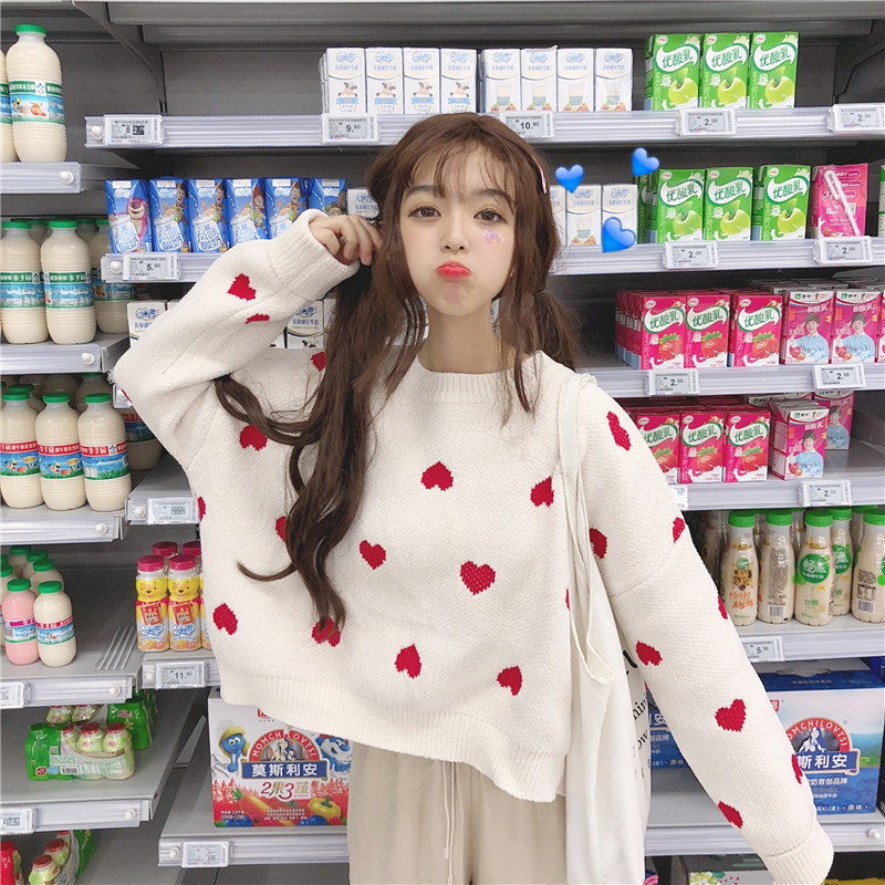 Loose Women Jumpers 2018 Autumn New Korean Sweet College Girls Loose Short Knitted Pullovers Heart Print Long-sleeved Sweaters
