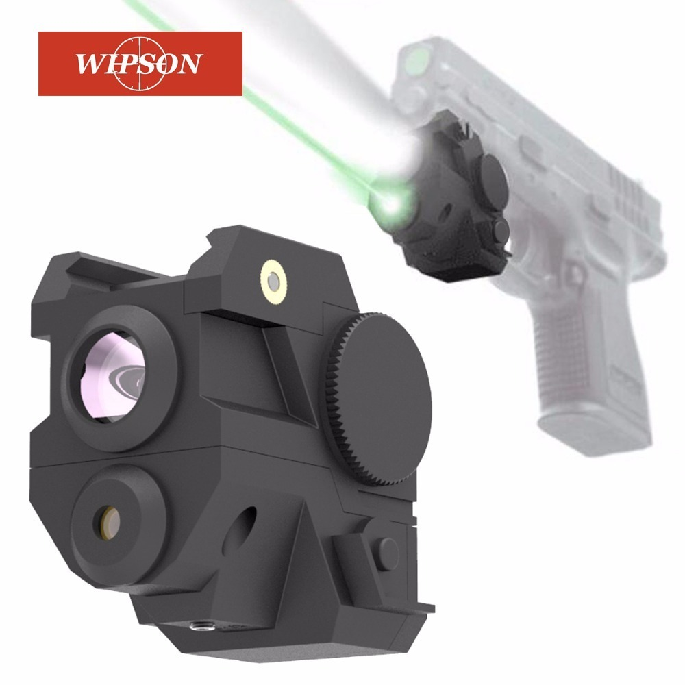 WIPSON Mini Sub Compact Rail Red Laser Sight with High Lumen LED Flashlight Integrated Combo with Strobe for Pistol Rifle element ex276 peq15 battery case military high precision red dot laser integrated with led flashlight red laser and ir lens