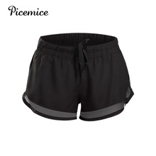 Picemice 3 Running Shorts Sexy Mesh Yoga Tether Quick Dry Active Training Exercise Jogging 2 in 1 2019 Womens Sports