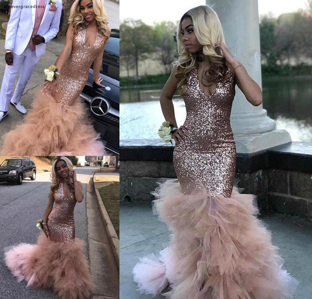 African Black Girls Sequined   Prom     Dress   Rose Gold Formal Pageant Holidays Wear Graduation Evening Party Gown Plus Size