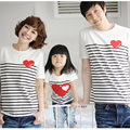 1pc New 2016 Family T-shirts Father Son Mom Baby Matching T-shirt Clothes Summer Striped Short Cotton Casual Tee Tops Outfits