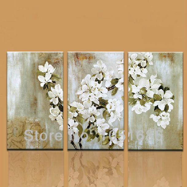 Canvas Modern Apple Tree Blossom White Flower Oil Painting