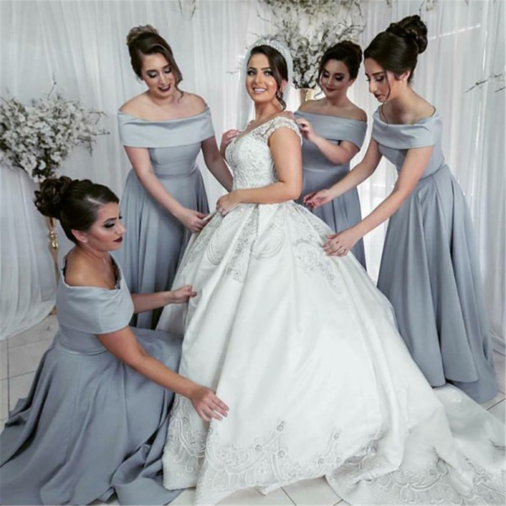 High Quality Grey Satin Simple   Bridesmaid     Dresses   A Line Boat Neck Off The Shoulder Long Wedding Party Gowns Cheap Women   Dress