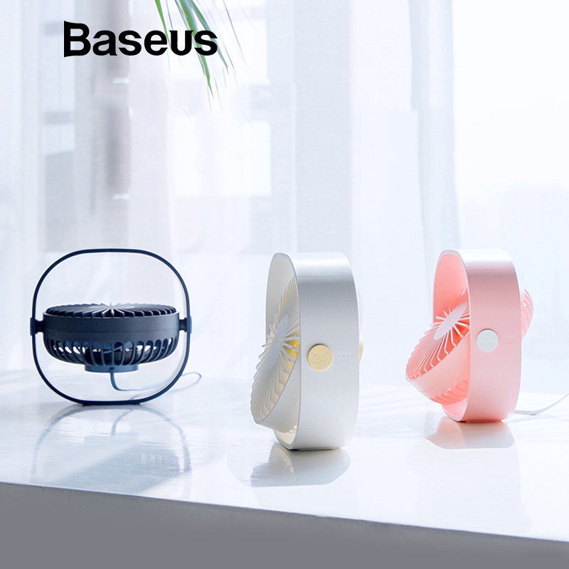 Baseus Portable Mini USB Fan For Home Student Desktop Office Fans 3-Speed Mute 360 Adjustment Handheld Electri Air Cooling Fan free shipping parts timing pitch three page fan head desktop mute fans