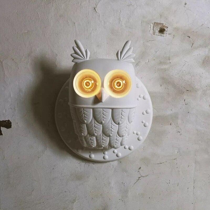 simples e moderno luzes de parede resina coruja branca criativo lampada parede para hotel restaurante quarto