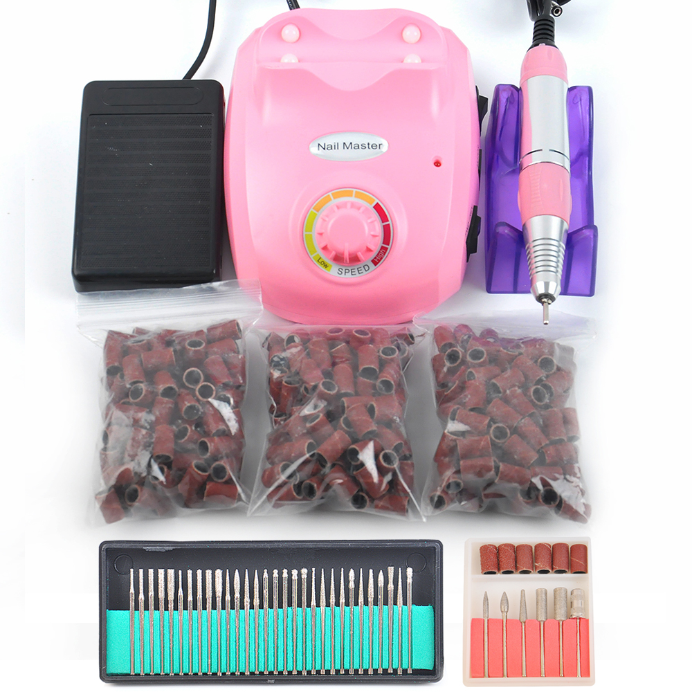 Nail Art Bits Machine Manicure Kit 30000 RPM Pink Electric Nail Drill / Nail Tools +30pcs Nail Drill Bit+150pcs Sanding Bands red nail tools electric nail drill machine 30000rpm nail art equipment manicure kit nail file drill bit sanding band accessory