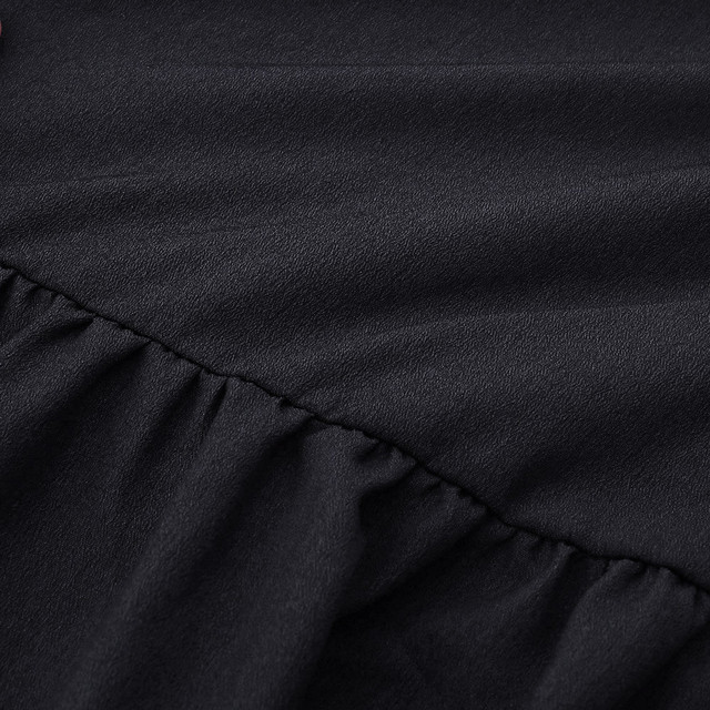 New fashion Women Solid Lantern Long Sleeve party dress V-Neck Draped Knee-Length Dress 4