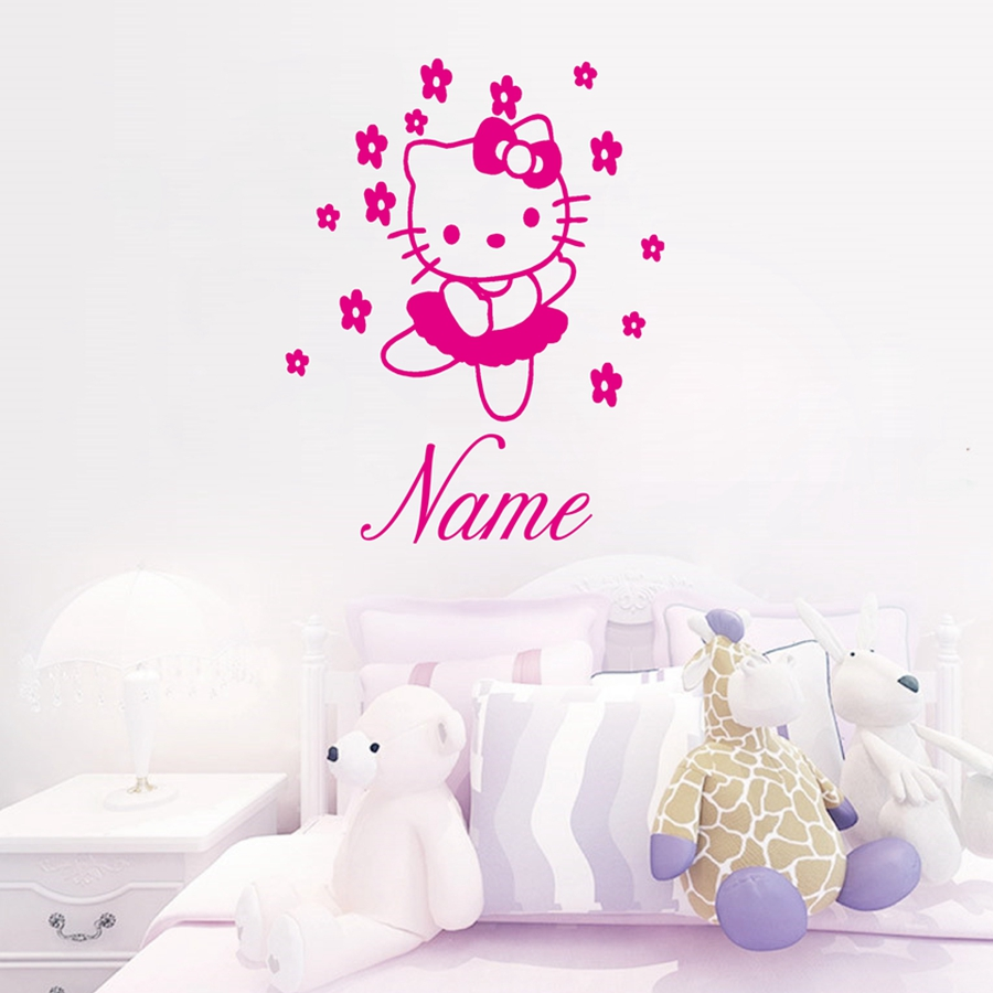 HELLO KITTY Fairy Personalised Name Wall Sticker Art Decal Vinyl Kids Girl  Room Decorative Free Shipping ,c2065 Part 84