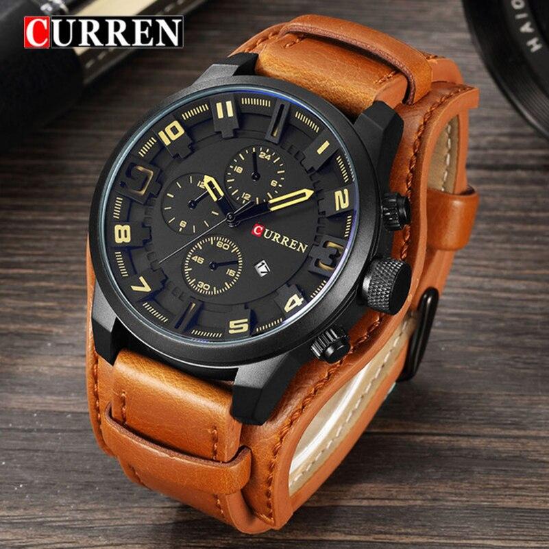 Новый Curren Часы Элитный бренд Для мужчин часы кожаный ремешок моды кварц-часы Повседневное спортивные наручные часы Дата часы Relojes Saat