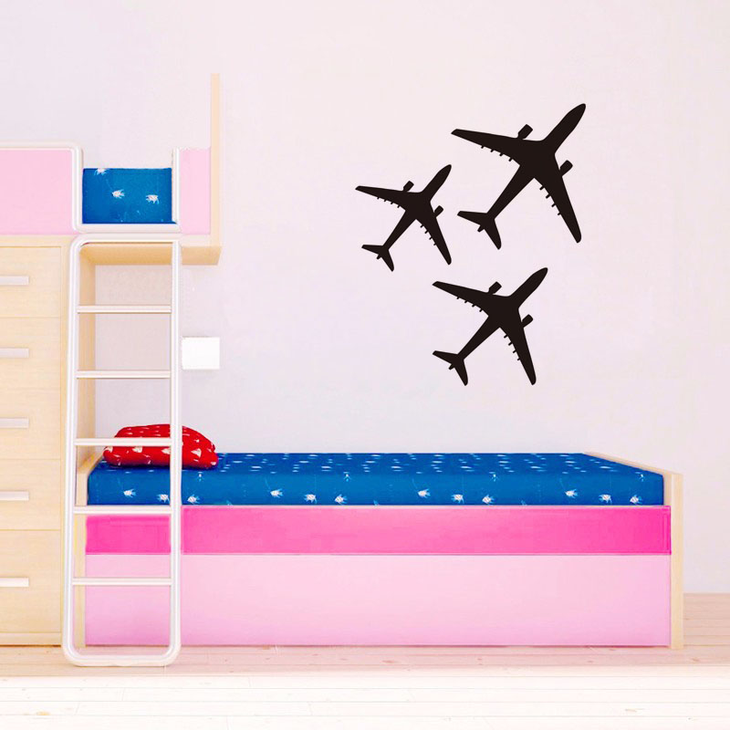 3 Pics Airplanes Vinyl Wall Sticker For Kids Room Waterproof Removable Art Mural Home Decor