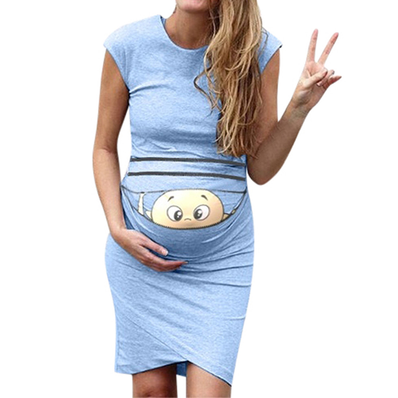 New 2019 Baby Print Pregnant Maternity Dress Maternity Props Bodycon Casual Mini Pregnant Dress Clothes For Pregnant Women