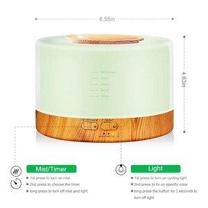 Image 2 - 500ML ארומתרפיה מפזר אוויר מכשיר אדים עם LED לילה אור לבית חדר קולי מגניב ערפל ארומה חיוני שמן מפזר