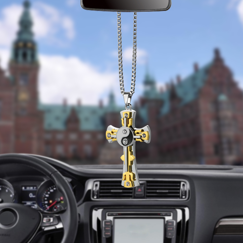 Car Pendant Metal Diamond Tai Chi Cross Hanging Ornaments