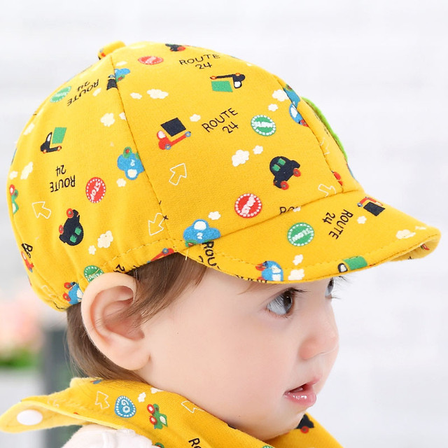 Free Shipping Yellow Color Baby Cotton Soft Hat Kid Boy Girl Toddler Infant  Hat Little Car Baseball Beret Cap For 0-36 Months 4ba195d838c