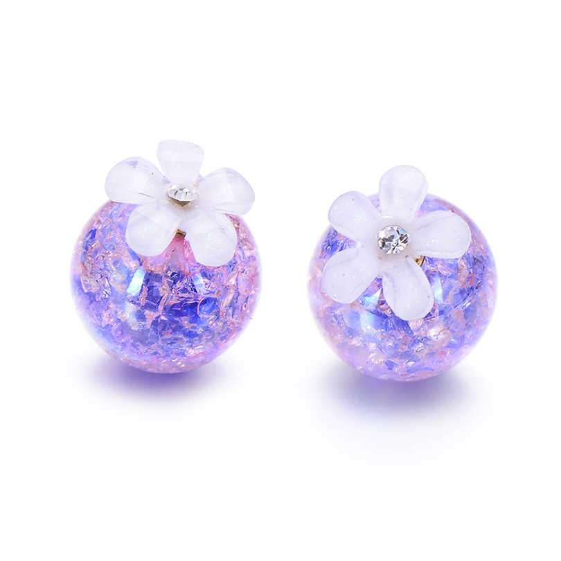 5 pairs/lot Gradient Color Double Ball Simulated Pearl Earring For Women Crystal Flower Stud Earrings Pusety Brincos Wholesale