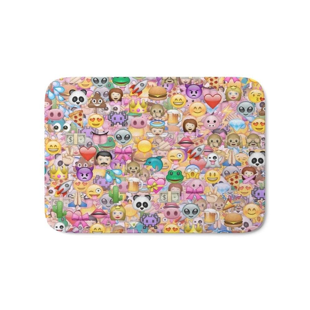 "Emoji / Emoticons Bath Mat 17"" X 24"" Pattern Coral Fleece"