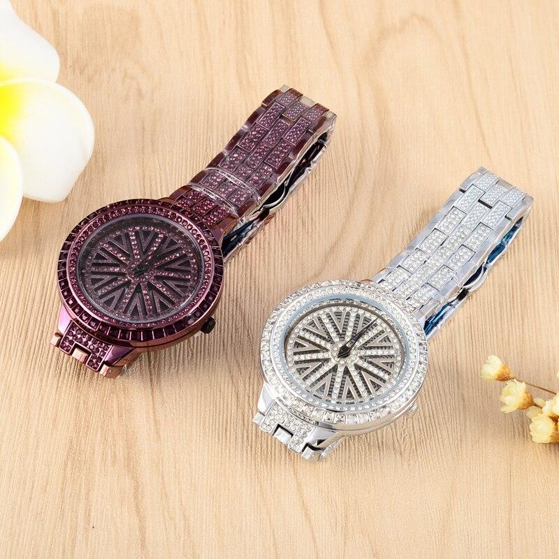 Vintage Purple Rotation Watches Luxury Full Diamond Women Dress Watches Shining Vogue Girls Steel Hours Reloj Montre Femme W067 lucky 2015 vogue reloj lucky12