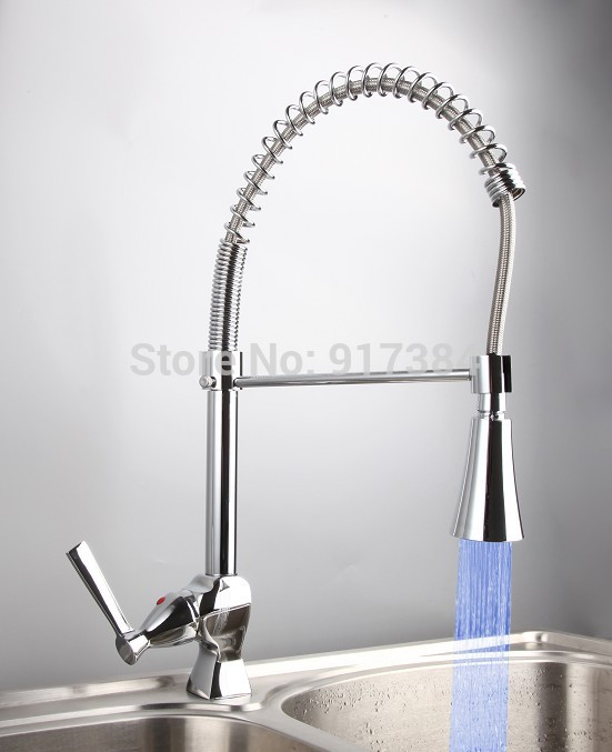 Chrome LED Swivel Spout Kitchen Sink Faucet Pull Out Spray Mixer Tap JN8087 good quality wholesale and retail chrome finished pull out spring kitchen faucet swivel spout vessel sink mixer tap lk 9907