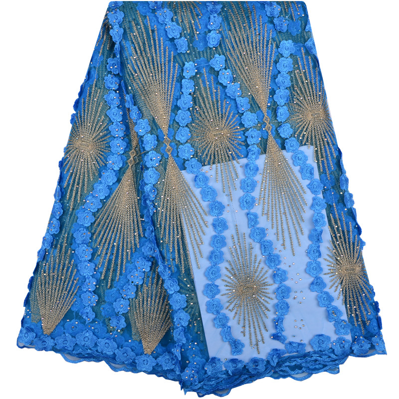 Sky Blue African Lace Fabric 3D Flower High Class 2018 French Tulle Lace Appliqued Nigerian Net