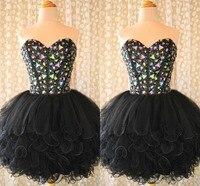 2019 бальное платье Короткое платье на выпускной с лифом сердечком тюль, расшитый кристаллами и бисером пачка корсет, бандаж Черный Homecoming пла