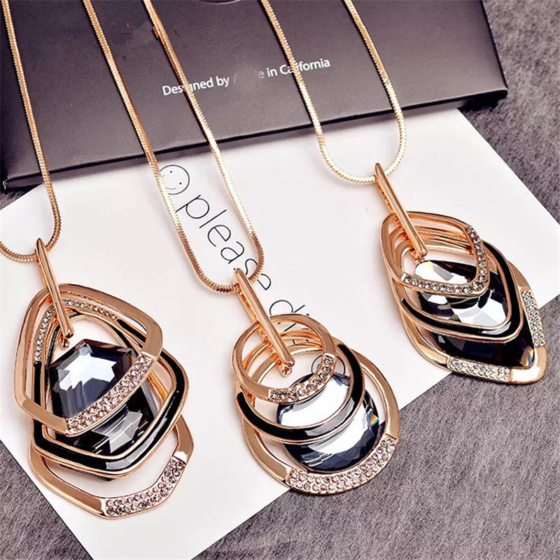 Korean Geometry Crystal Multi-layer Autumn Winter Long Sweater Chains Pendant Necklace Fashion Jewelry Accessories-LKSC003C5