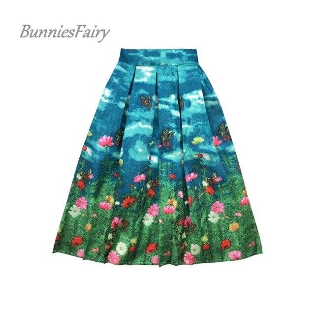 BunniesFairy 2017 Autumn Runway High Street Women Butterfly Animal Flower Floral Print High Waist Pleated Midi Skirt Blue Saia