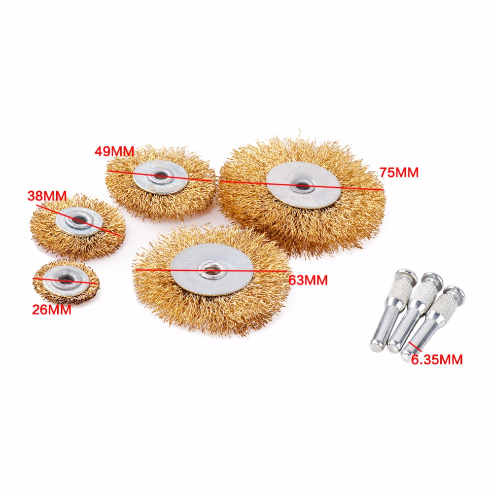 8Pc Polished Steel Wire Brush Wheel Wire Rust Grinding Petiole For ...