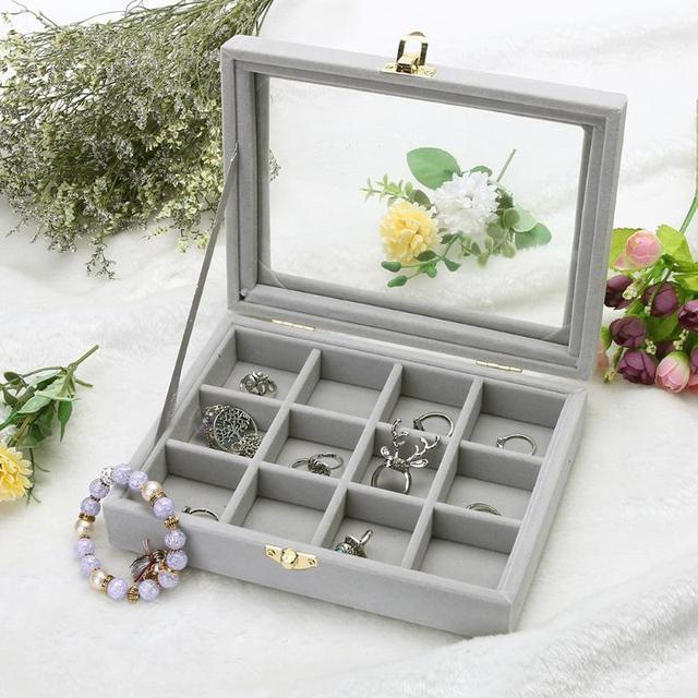 b31685b68 Velvet 12 Grid Ring Jewelry Box Velvet Glass Jewelry Display Box Jewelry  Display Case Luxury Decoration