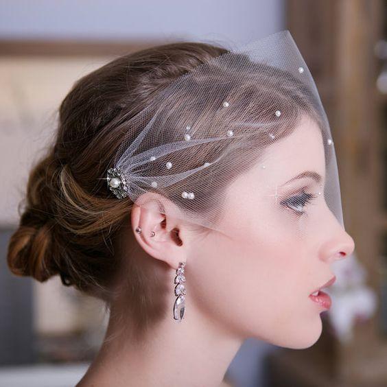 Wedding Veil 2017 Pearls Beading Bridal Veil Birdcage Veil Veu De Noiva Accessoire Cheveux Mariage Decoration Mariage