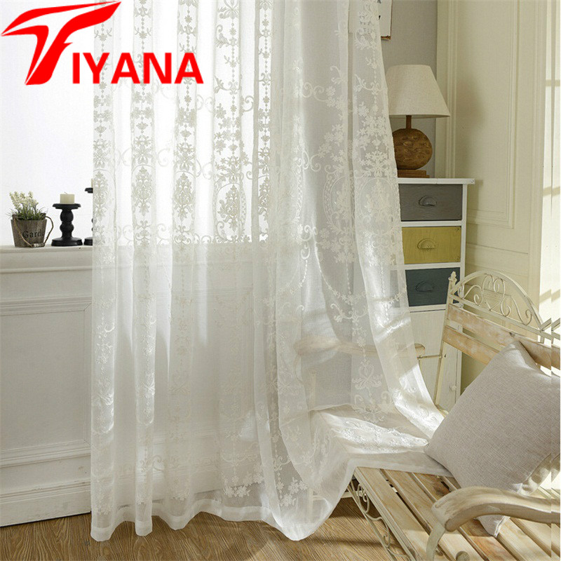 europe luxury modern style sheer curtains for living room kitchen curtains geometric window drapes white blue