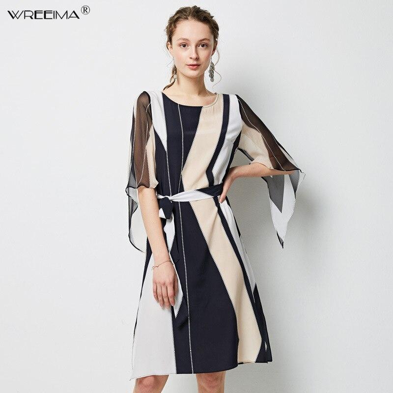 Robe en soie pour femmes couronne 100% vraie soie ceinture taille genou longueur robe 2019 printemps été points robes géométriques nouveau bleu