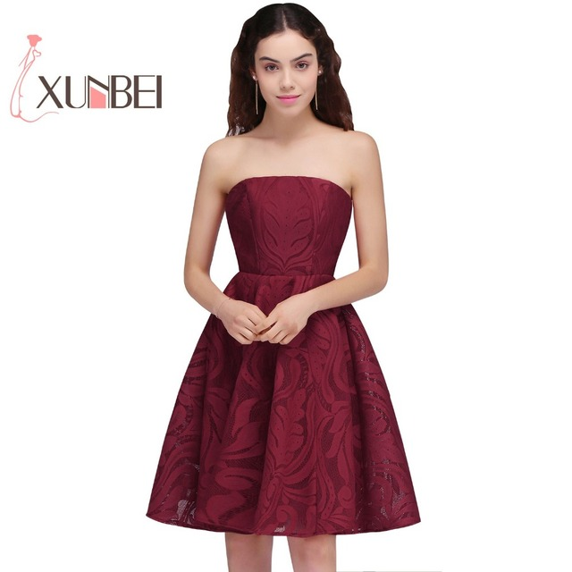 Sexy Vestido 15 Ano Curto Burgundy Lace Homecoming Dresses 2017