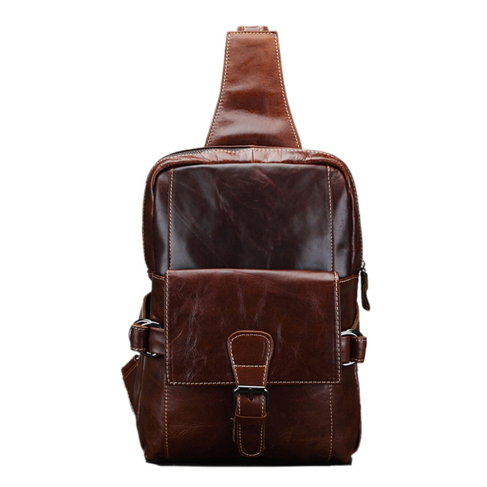 ФОТО 2017 New Men Oil Wax leather Chest Bag First layer Cowhide Travel Belt Messenger Shoulder Sling Day Pack