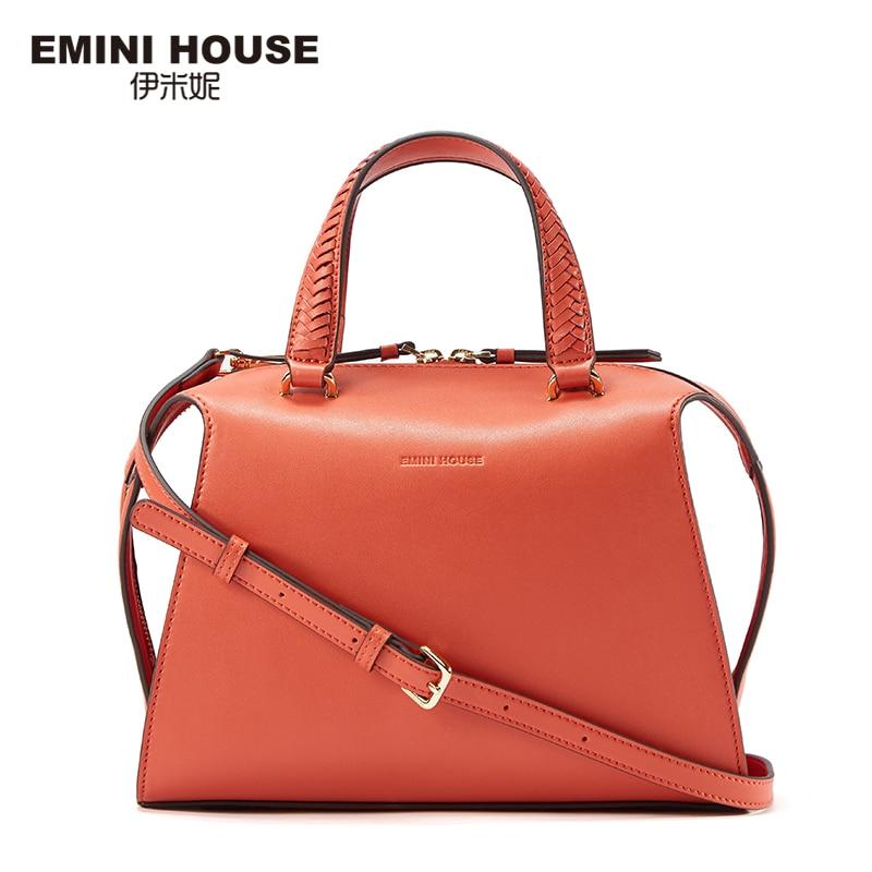 Emini house elegante knitting mango bolso de cuero partido de las mujeres bolsos