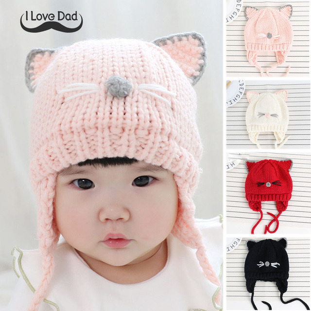 567f24ca5f8 Cute Cat Ear Baby Winter Crochet Hat Cap With Earflap Infant Baby Newborn Hats  Girls Knitted