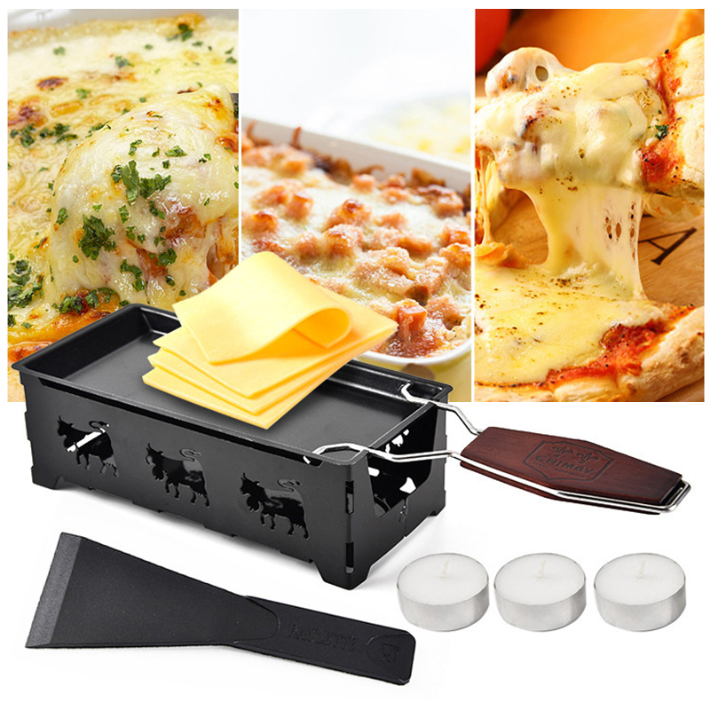 Swiss Cheese Roasters Practical Gadgets Wooden Handle Mini Nonstick Baking Tray Cheese Oven BBQ Tools(China)