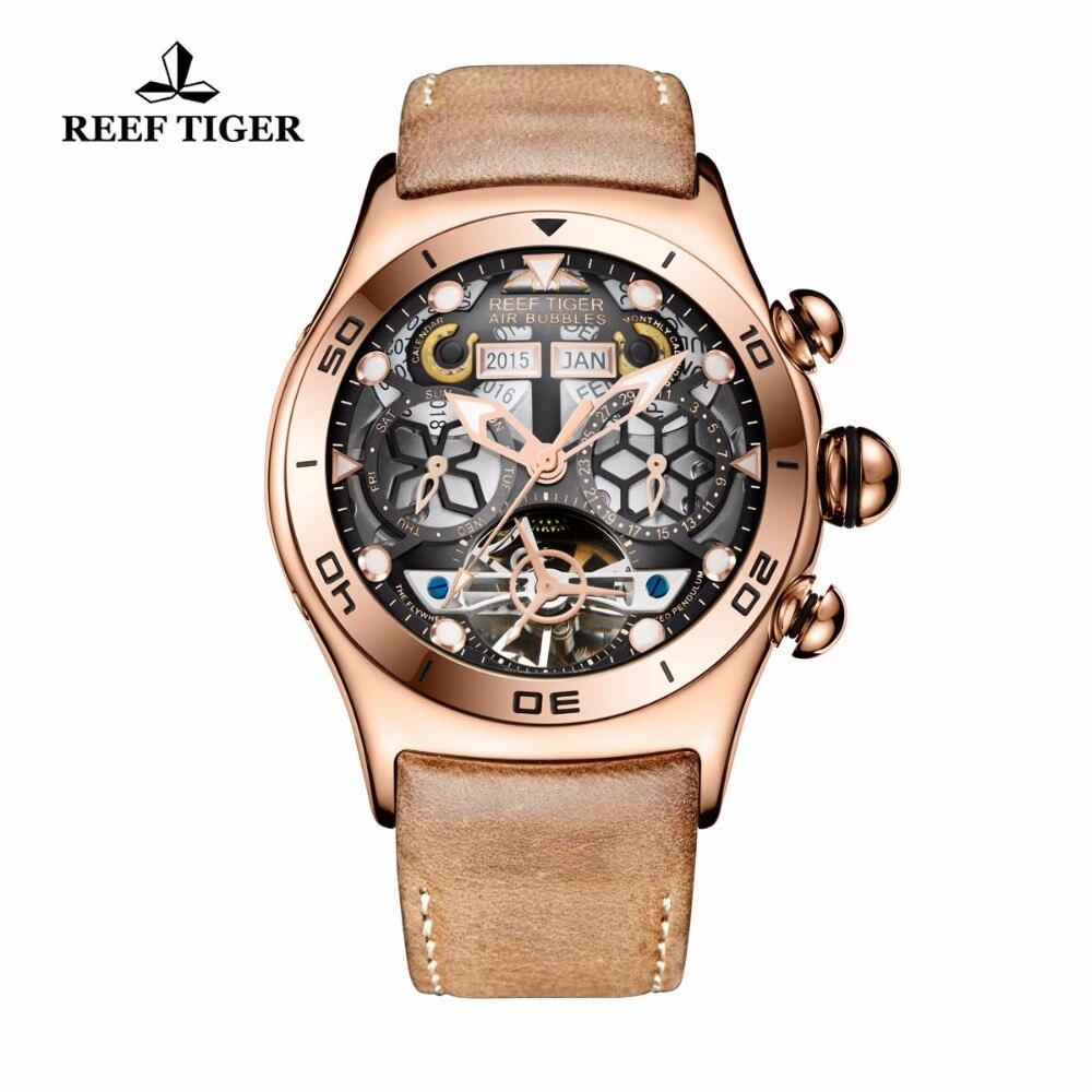 Риф Тигр/RT спортивные часы для Для мужчин светящийся скелет часы год месяц Дата День розовое золото автоматические часы RGA703