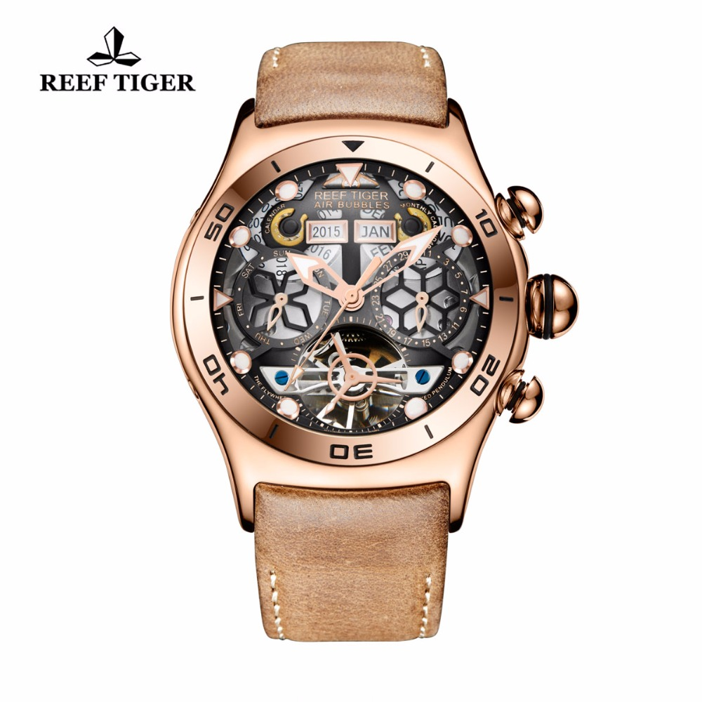 Reef Tiger / RT Sport horloge voor heren skeleton lichtgevend horloge Year Month Date Day Rose Gold Automatic Watches RGA703