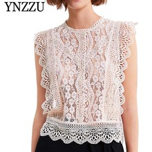 YNZZU 2019 Summer O-neck sleeveless women lace tops Patchwork ruffled loose ladies T-shirt New Solid Sexy hollow out YT629