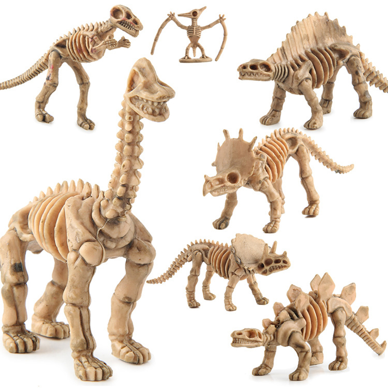 12pcs/set Action & Toy Figures Plastic Dinosaurs Skeleton Model  Fossil Skull Skeleton Plastic Model Toys Gift for Children F3 12pcs set dinosaurs plastic model children simulation animal solid soft dinosaur action figures toys gift for kids e