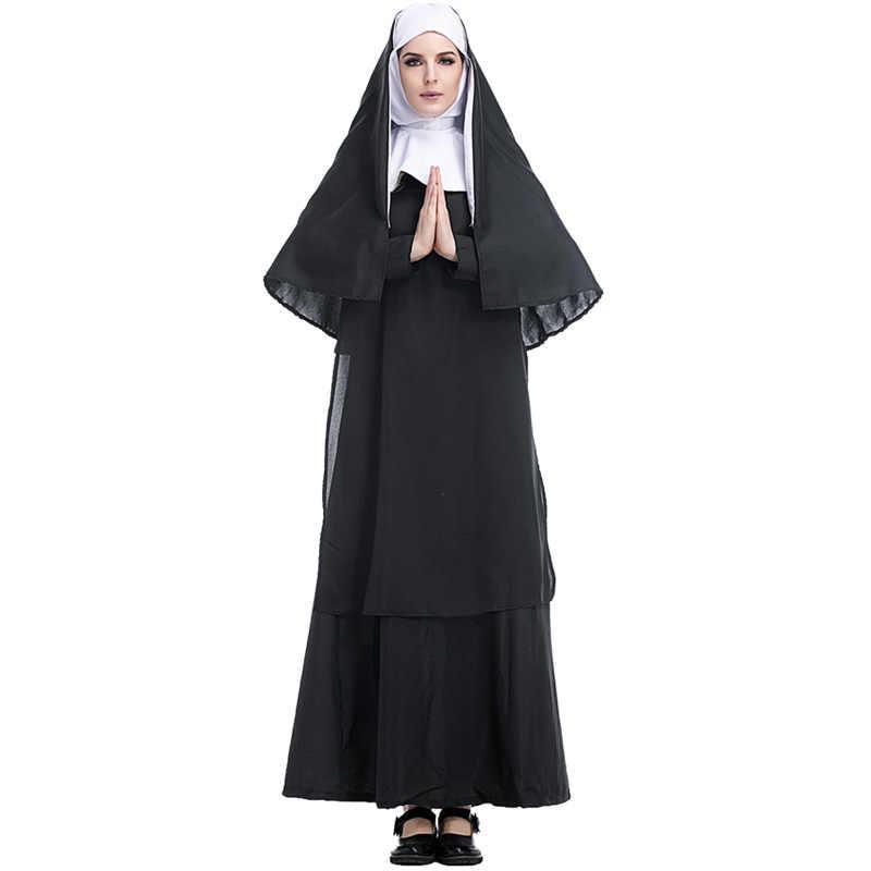ผู้ใหญ่ผู้หญิงผู้ชาย Renaissance Priest เครื่องแต่งกายปาร์ตี้แฟนซีพร้อมเสื้อคลุม Cape Hooded ฮาโลวีนคอสเพลย์ XL