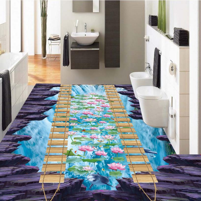3d suelo carpa personalizada 3d papel tapiz mural de loto for Vinilo adhesivo suelo bano