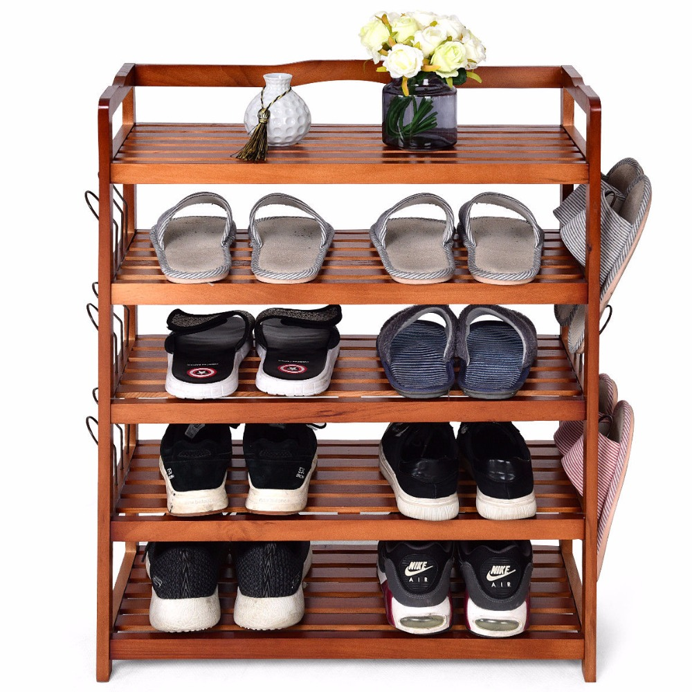 купить Giantex 5-Tier Wooden Shoe Rack Shelf Storage Organizer Entryway W/ 6 Shoe Stretcher Living Room Furniture HW57486 по цене 2719.22 рублей