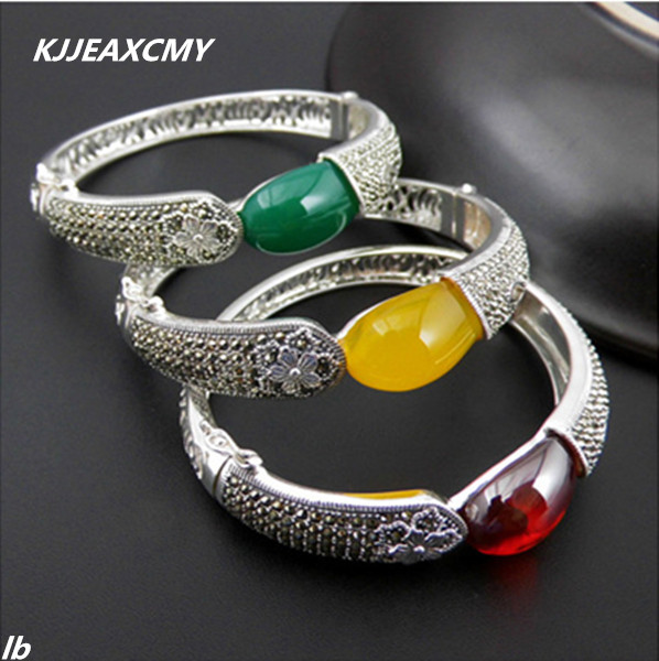 KJJEAXCMY Fine jewelry 925 sterling silver Thai silver garnet agate agate yellow onyx female retro bracelet new купить недорого в Москве