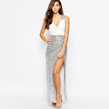 Russia France Europe  temperament fashion sexy deep V collar Sequin stitching high slits long dress