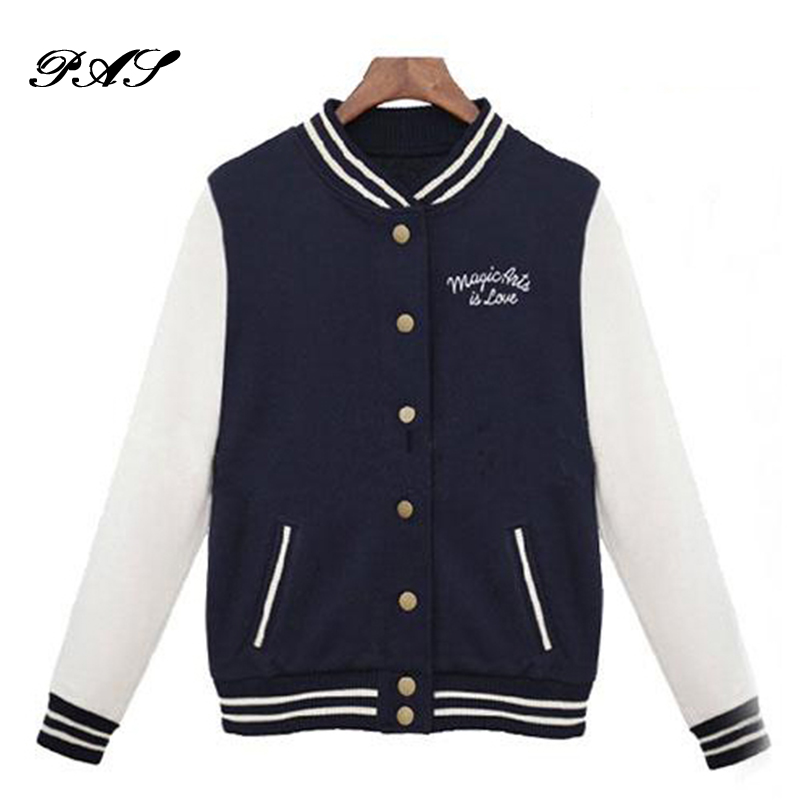 Women College Wind Baseball Cardigan Sweater Coat